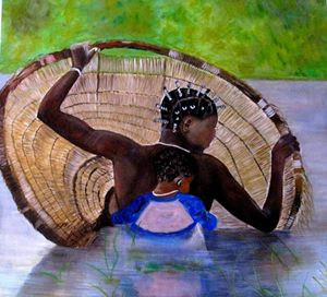 African woman fishing