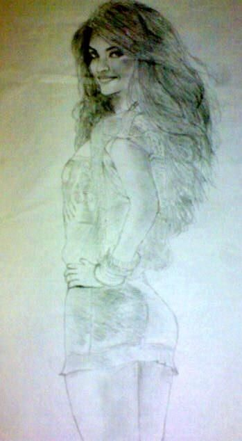 Sexy Lady on the Floor - Pencil Art