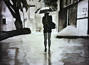 Girl Clutching Umbrella