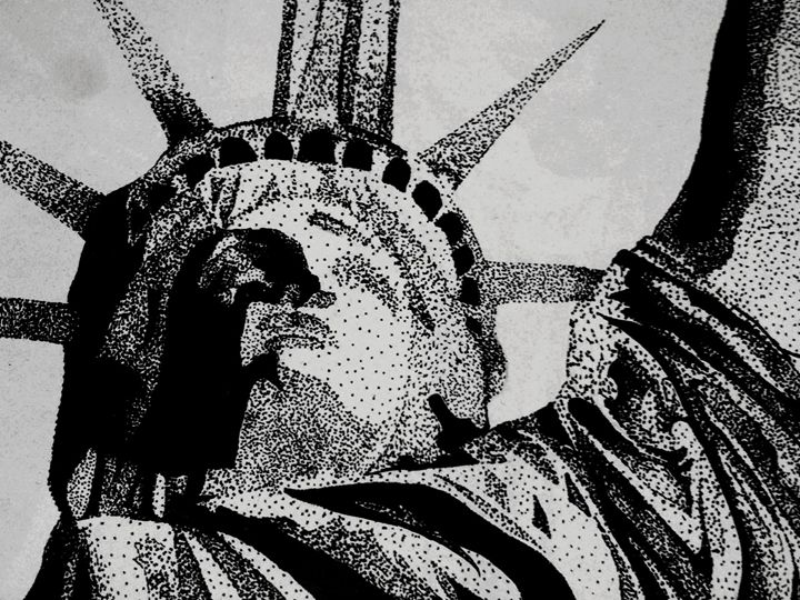 Lady Liberty and the tower lights - Crofford Art