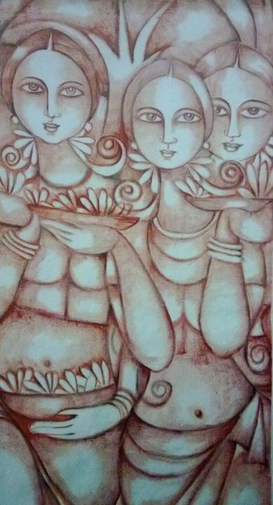 flower with girls - Vishaka art gallery