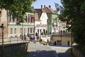 Tourists visiting Old Town Sibiu Rom