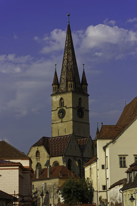 Evangelical Cathedral Sibiu on blue - Adrian Bud