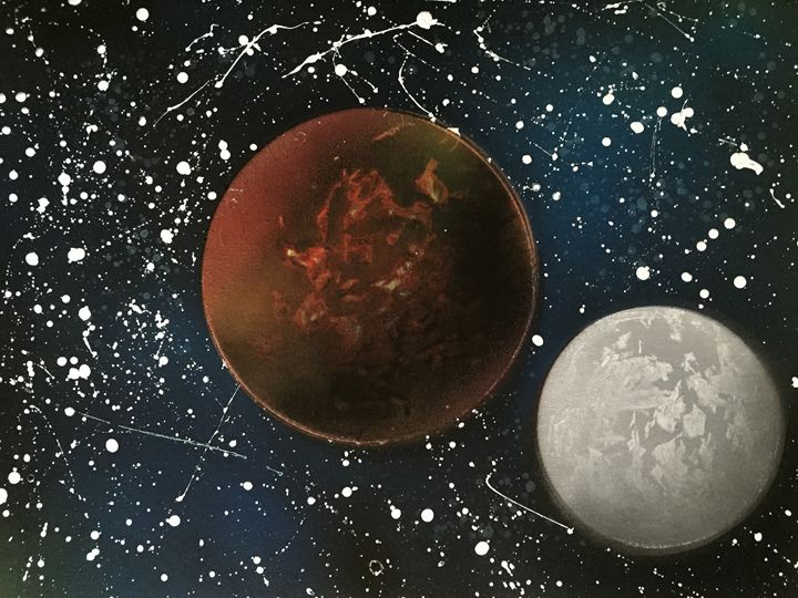 Red Planet and Moon - Fetters Art