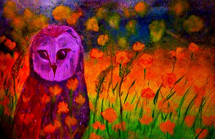 Owl watercolor Landscape - YodelArtAuction
