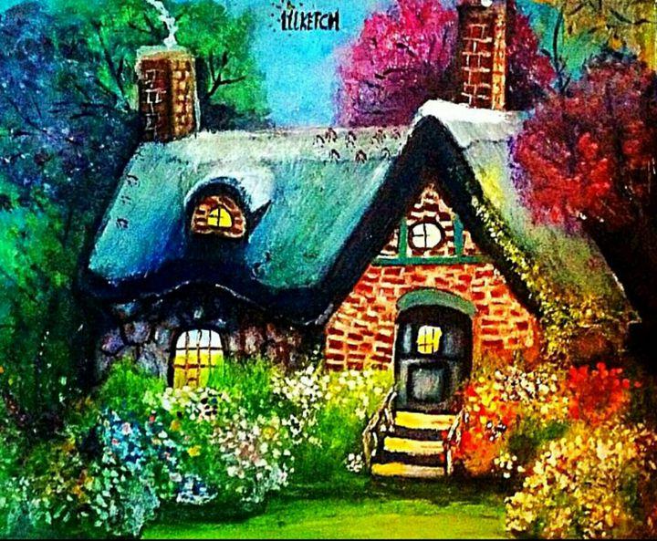 Colorful Cottage - YodelArtAuction