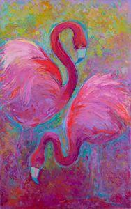 flamingos, paired