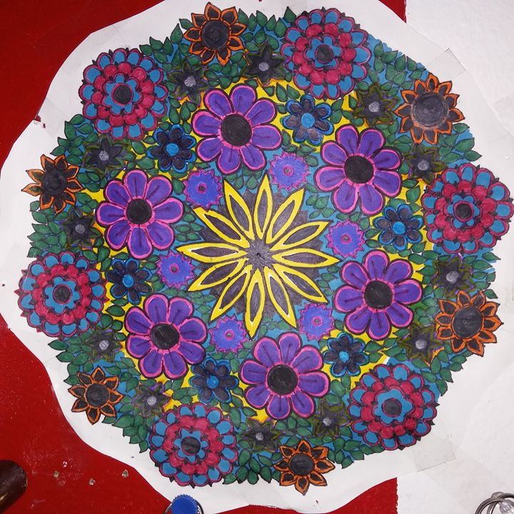 Hans Drawn Flower Mandala - Michelle's Magnificent Mandalas