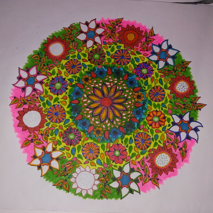 Hand Drawn Flower Mandala Colorful - Michelle's Magnificent Mandalas