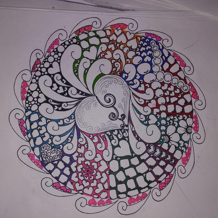Hand Drawn Valentines Mandala - Michelle's Magnificent Mandalas