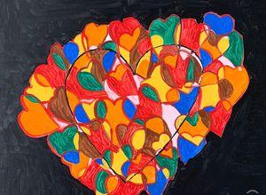 Acrylic hearts painting