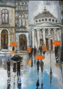 People on a street on a rainy day