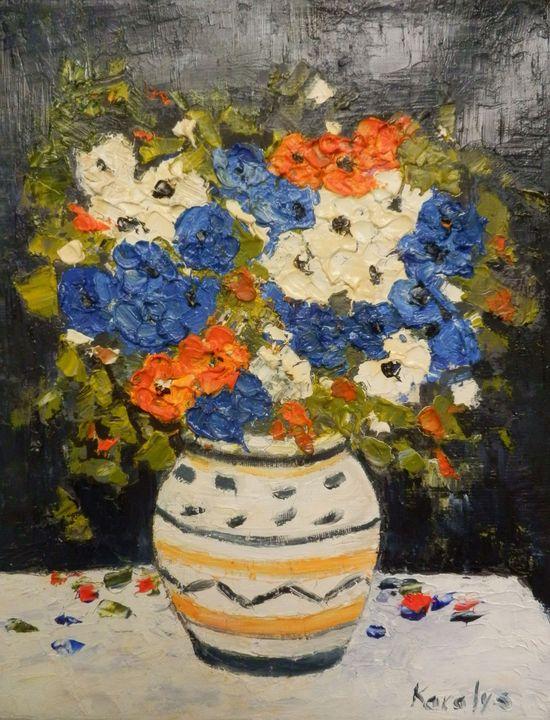 Multicoloured flowers in a pot - Maria Karalyos