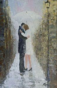 Kissing under the rain