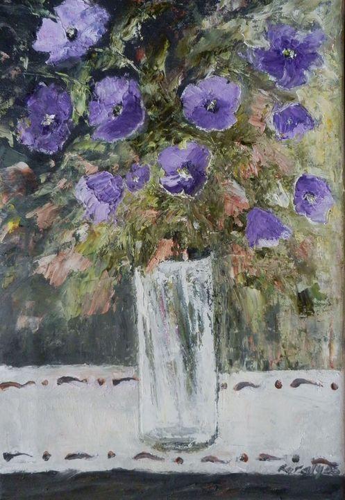 Petunias in a glass vase - Maria Karalyos