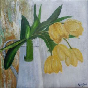 Stilllife with yellow tulips