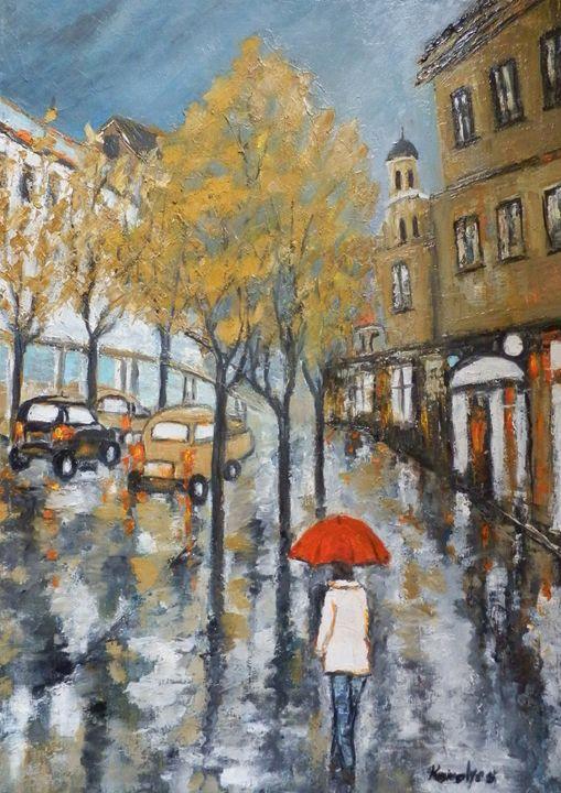 A woman with a red umbrella - Maria Karalyos