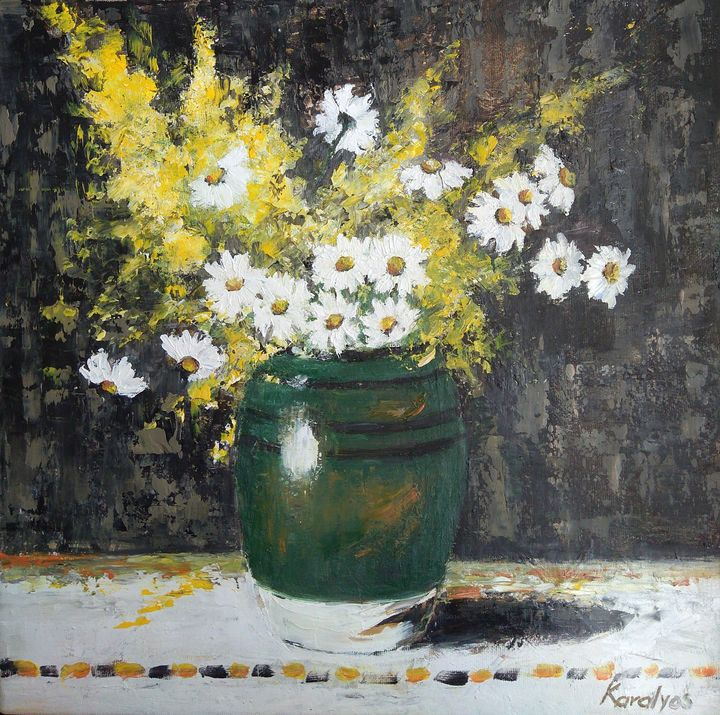 Summer flowers in a green bowl - Maria Karalyos