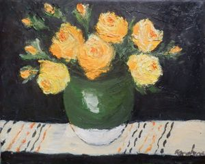 Yellow roses in green bowl