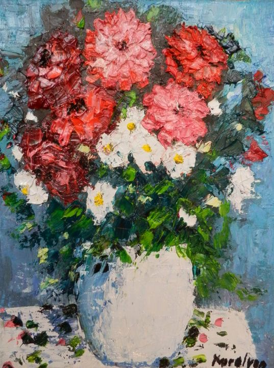 Still life with red flowers - Maria Karalyos