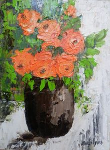 Red roses in a brown vase