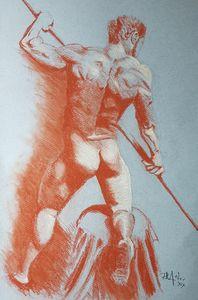 Nude Study Of Man Kneeling
