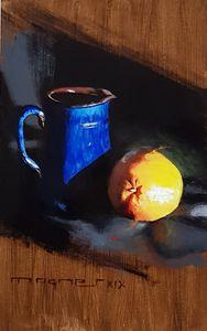 Blue Milk Jug And Orange