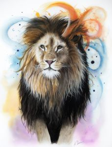 Lion in Watercolour and Pencil