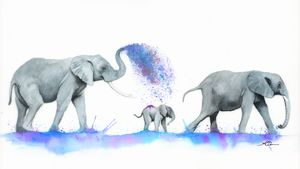 Elephants Watercolour Painting