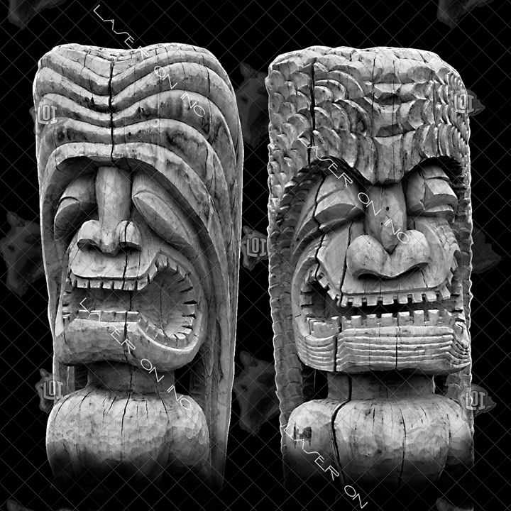 tiki-heads-12in - Laser On Inc