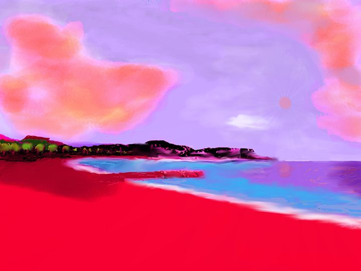 red beach juan les pins - the french riviera paintings by gary trigg