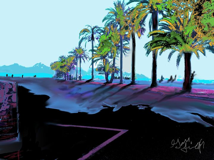 nice boulevard - the french riviera paintings by gary trigg