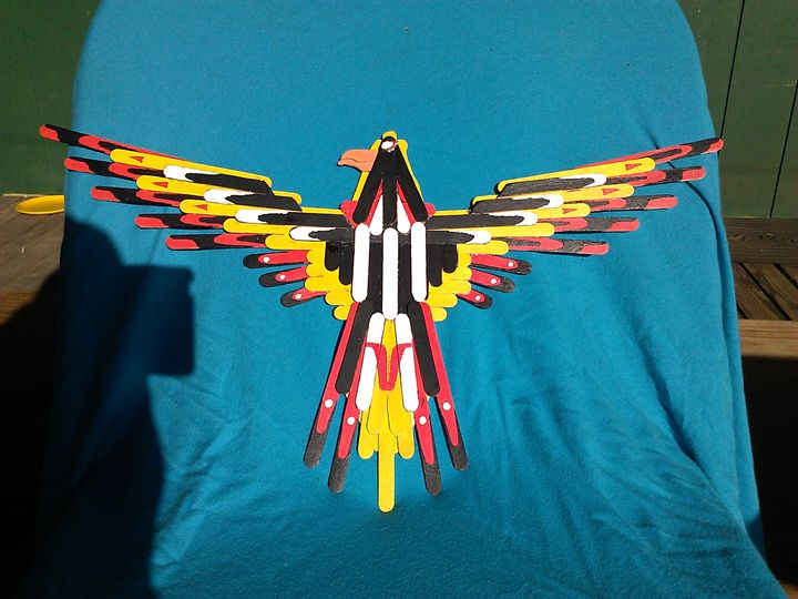 craft stick eagle - toms fine art
