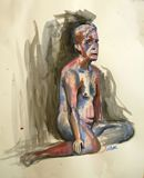 18X24 Watercolor Male Figure