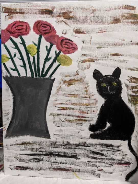 Cat and flowers. - Daisy