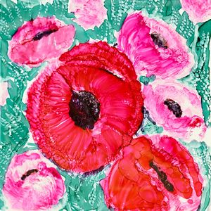 Top of the Bouquet Poppies Painting