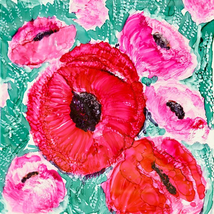 Top of the Bouquet- Poppies Painting - Donoghue Design- Wall Art