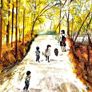 In Woods with Dad- Family Outing - Donoghue Design- Wall Art
