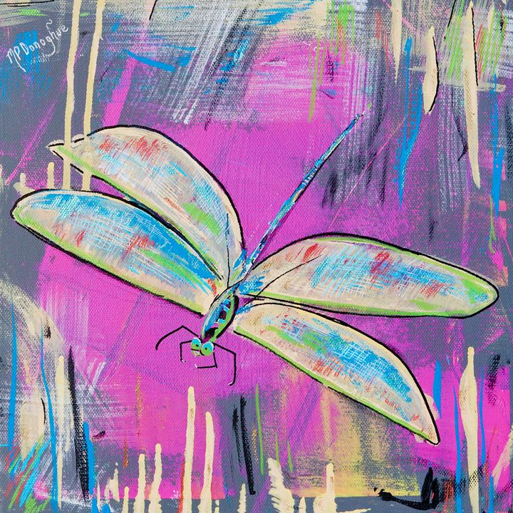 DragonFly Fun- Pink and Turquoise - Donoghue Design- Wall Art