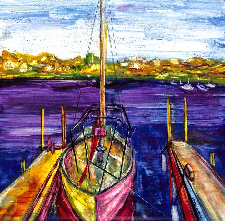 Sailboat at Dock Ink Painting - Donoghue Design- Wall Art