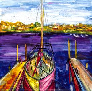 Sailboat at Dock Ink Painting - Donoghue Wall Art