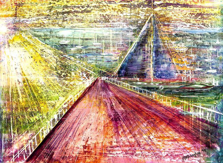 Sailboat Coast - Boats from Bridge - Donoghue Design- Wall Art