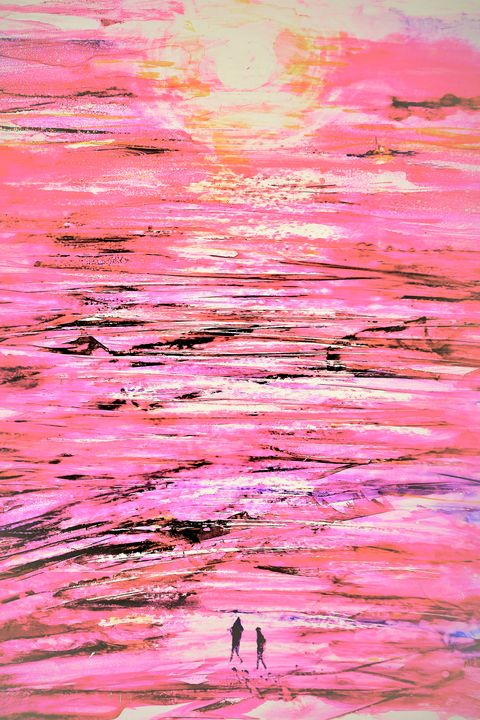 Sunset Beach Walk- Abstract Pink - Donoghue Design- Wall Art