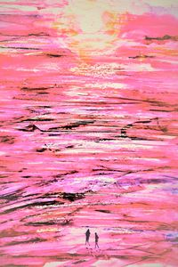 Sunset Beach Walk- Abstract Pink