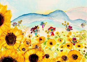 Grateful Sunflowers- pandemic art - Donoghue Design- Wall Art