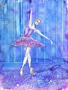 Blue Ballerina -on stage - Donoghue Design- Wall Art
