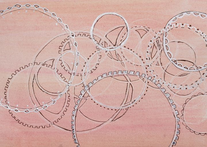 Lace and Gears -Watercolor Abstract - Donoghue Design- Wall Art