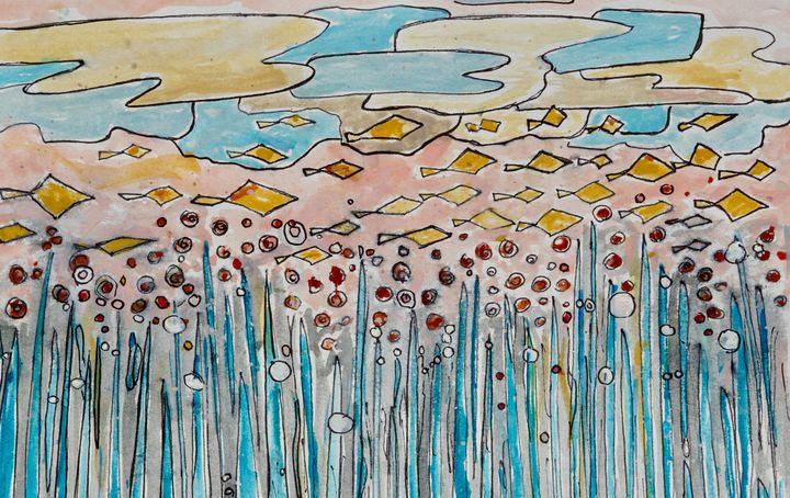 Underwater- abstract- fish - Donoghue Design- Wall Art