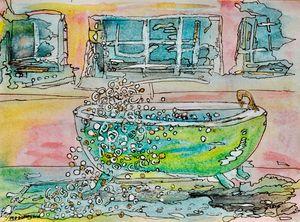 Green Bathtub- Bubblebath- painting