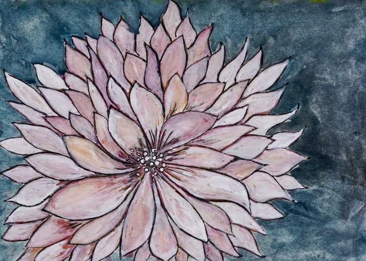 Chrysanthemum on Blue - Painting - Donoghue Design- Wall Art